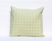 Fretwork Pillow Cover, Pillow Cover, Throw Pillow Cushion Cover Waverly Cross Section Green