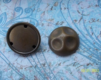 2 Vintage Brass Dome Stampings with Back Plate    ...   t-35