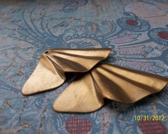2 Vintage Brass Butterfly Wing Stamping       ...      t-33