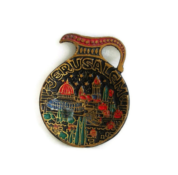 Ring dish with Jerusalem relief & enamel on vintage brass amphora jug shaped wall hanging, Israel souvenir. Judaica collectible, Jewish