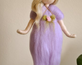 Purple Fairy Wall Hanging Waldorf inspired needle felted