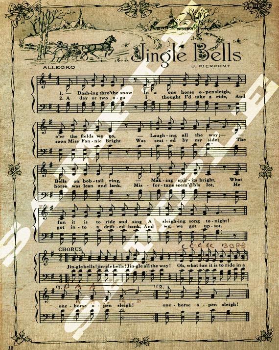 Jingle Bells Christmas Holiday Sheet Music Printable Download