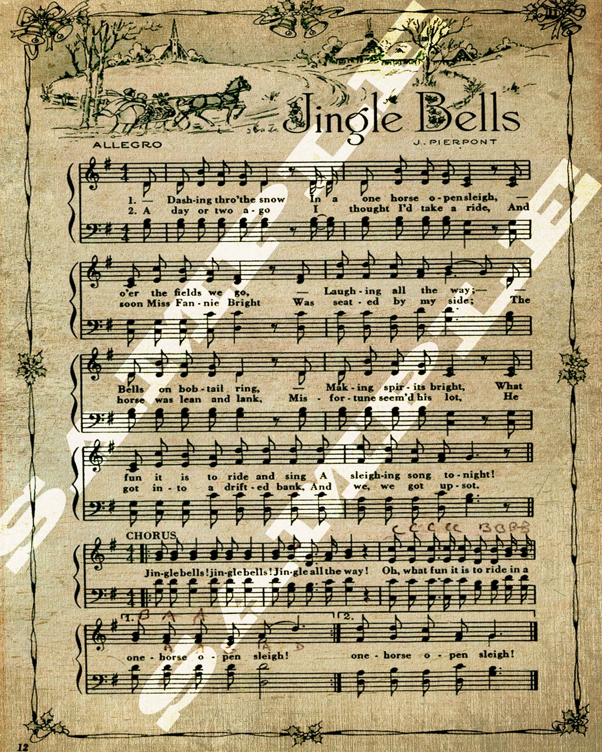 items similar to jingle bells christmas holiday sheet music printable download tag sign 8x10 on etsy. Black Bedroom Furniture Sets. Home Design Ideas