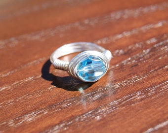 The Hunger Games District 4 Inspired- Simple Silver Wire Wrapped Ring