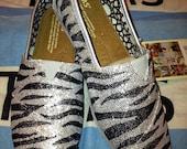 Glitter Zebra Print TOMS