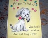 Vintage Cards, Get Well, Puppy Dog, Yellow, Hallmark,  Unused