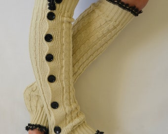BS5327- Ecru slouchy open button down lace leg warmers knit lace leg warmers boot socks women's fashion knee high socks