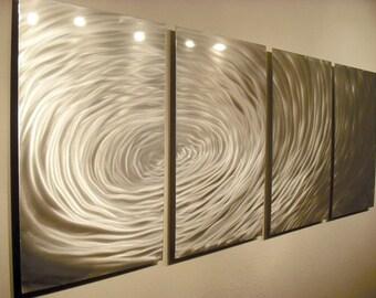Metal Wall Art Decor Aluminum Abstract Contemporary Modern Sculpture Hanging Zen Textured - Rippling