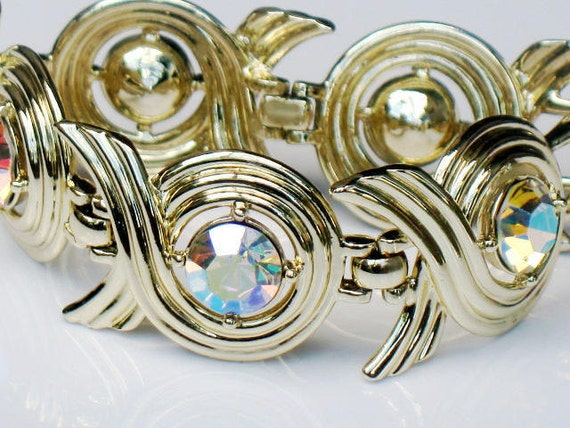 Sarah Coventry Link Bracelet Aurora Borealis Swirl Crystal Vintage Statement Retro Art Deco 1960s Signed Collectable Jewelry Spring Summer