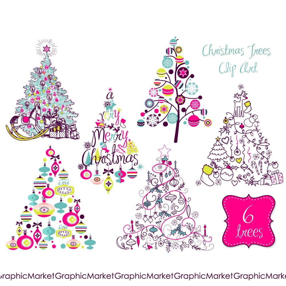 christmas tree clip art clipart digital set card retro