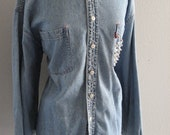 Studded and distressed Levis Denim Ex-Boyfriend Shirt/Men's Studded Levis Denim Shirt