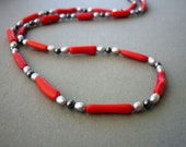 Red Coral Necklace, Rustic Red & Grey Weddings, Bridal Jewelry, Beach Wedding, Free Shipping to EU, US, CAN