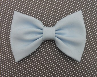 Light Blue Shantung Hair Bow, Girls Hairbow, Retro Bow # 077