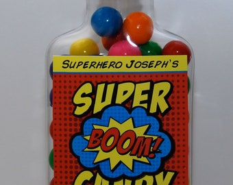 Superhero Candy Bottle • Container and Label • Printed and Assembled