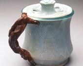 Ceramic Porcelain Soft Blue Flower Lidded Mug