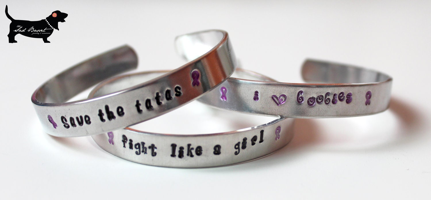 handstamped aluminum breast cancer support by thesadbasset