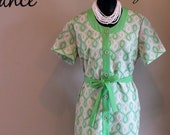 Reserved for Amber Watts Vintage 1960s Retro Green House / Day Dress Geomatric Design SZ Med/ Large /Plus Size