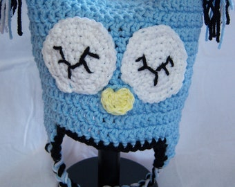 Blue Earflap Owl Hat-Toddler