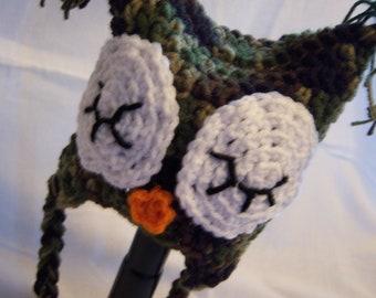 Camo Owl Earflap Hat - Newborn