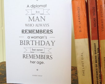 SECONDS SALE - Literary Quote Birthday Card - Birthday Card for Book Lover