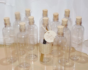 CORK BOTTLES - CLEAR PlaStiC FaVor BoTTleS (set of 30) -Ready To Fill with -LoVe Notes -PaRty InViTes-PiRaTe PartY-WeddIng-SoroiTY SeCretS