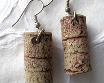 earrings 'ancient' buff with red tubes in paper clay