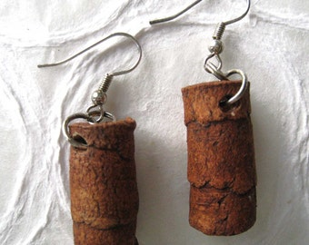 jewelry earrings light brown tubes in paper clay