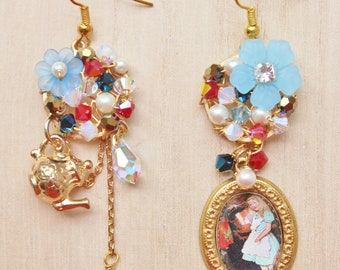 Alice's Tea Party Mismatched Statement Earrings - Wonderland inspired jewelry - glass domed Alice pendant, teapot charm & acrylic flowers
