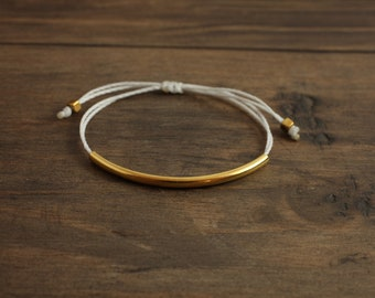 Gold Bar Bracelet with White Waxed Poly String- Adjustable
