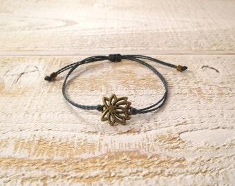 Bronze Lotus Flower Bracelet With Dark Grey Waxed Poly Cord