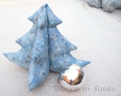 "Stuffed Tree Decoration - Star of Wonder - Medium 8"" - blue and silver"