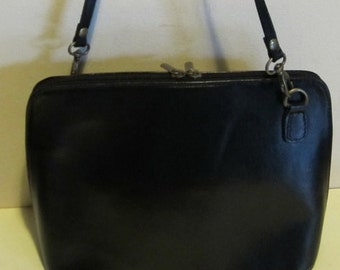 Lovely vintage black leather cross over bag, with very long strap; near mint