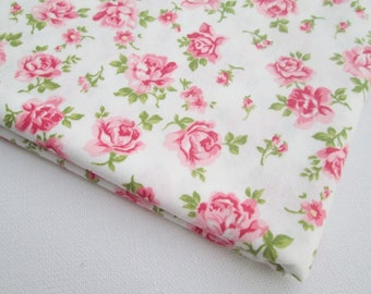 Pink Rose Cotton Fabric Vintage White Sweet Pink, Pink rose in the garden Spring, Woman Dress, Pillow cover, Curtain, Table Cloth, CT514