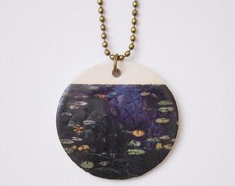 Handmade white stoneware necklace. Night blue pendant. Handmade Jewelry. Ceramic Pendant. Unique Handmade Jewelry.