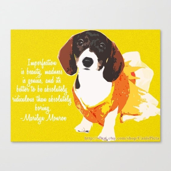 "Dachshund 10x8 Pop Art Print ""Imperfection is beauty..."" Marilyn Monroe Quote Bright Orange Yellow Easter Spring Photograph Dog Dress Puppy"