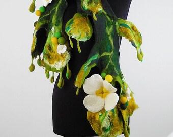 Felted Scarf Nunofelt Scarf Flower Wrap Artistic Shawl Felt Nunofelt Nuno felt Silk Boho Fiber Art