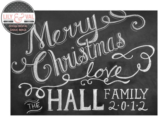 Custom Chalkboard Christmas Card - Merry Christmas Card - Holiday Chalkboard Art - Holiday Card - Digital Christmas Image