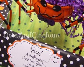 Printable Halloween Candy Bar Wrapper-Halloween Ghost Candy Bar Wrapper-Ghost Girl Candy Wrapper-Printable Halloween Ghost Candy Wrapper-Boo