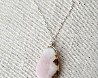 muse... silver opal pendant necklace / pink peruvian opal pendant & sterling silver necklace / october birthstone