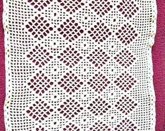 Crochet Dresser Scarf, White Table Runner Hand Crochet Doily  ID 023