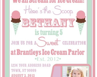 ICE CREAM PARTY invitation with photo