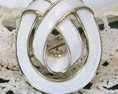 Trifari Brooch Vintage Jewelry Gold Tone White Enamel