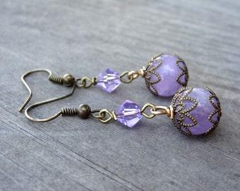 Bronze Handmade Purple Amethyst Crystal Bead Dangle Filigree Earrings Earring Jewelry
