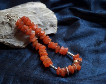 Hand-cut Indian carnelian and silver necklace - Karen Hill Tribe silver - vintage beads - statement necklace - orange - sterling silver