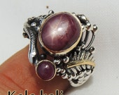 Reserved for LYNN // Star Ruby Ring Gold Bezel Silver Snake Feather Ring Size 7 US UK O