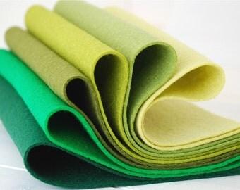 """100% Wool Felt Sheets - """"Secret Garden Collection"""" - 6 Wool Felt Sheets of  8"""" x 12""""  in shades of Green - Wool Felt Bundle"""