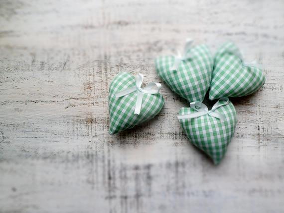 Mint heart magnet sachet Valentine Day decor, Valentine gift green white cotton shabby chic cottage chic