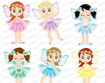 Fairies clip art & digital paper set - Personal and commercial use - Instant download