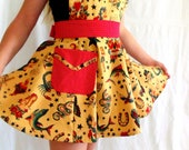 Tattoo Girls Apron with Red Pin Dot ties Sailor Jerry