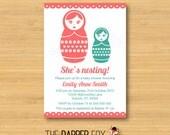 Babushka Baby Shower Invitation - Matryoshka Nesting Doll - Printable - 5x7 - Girl baby shower